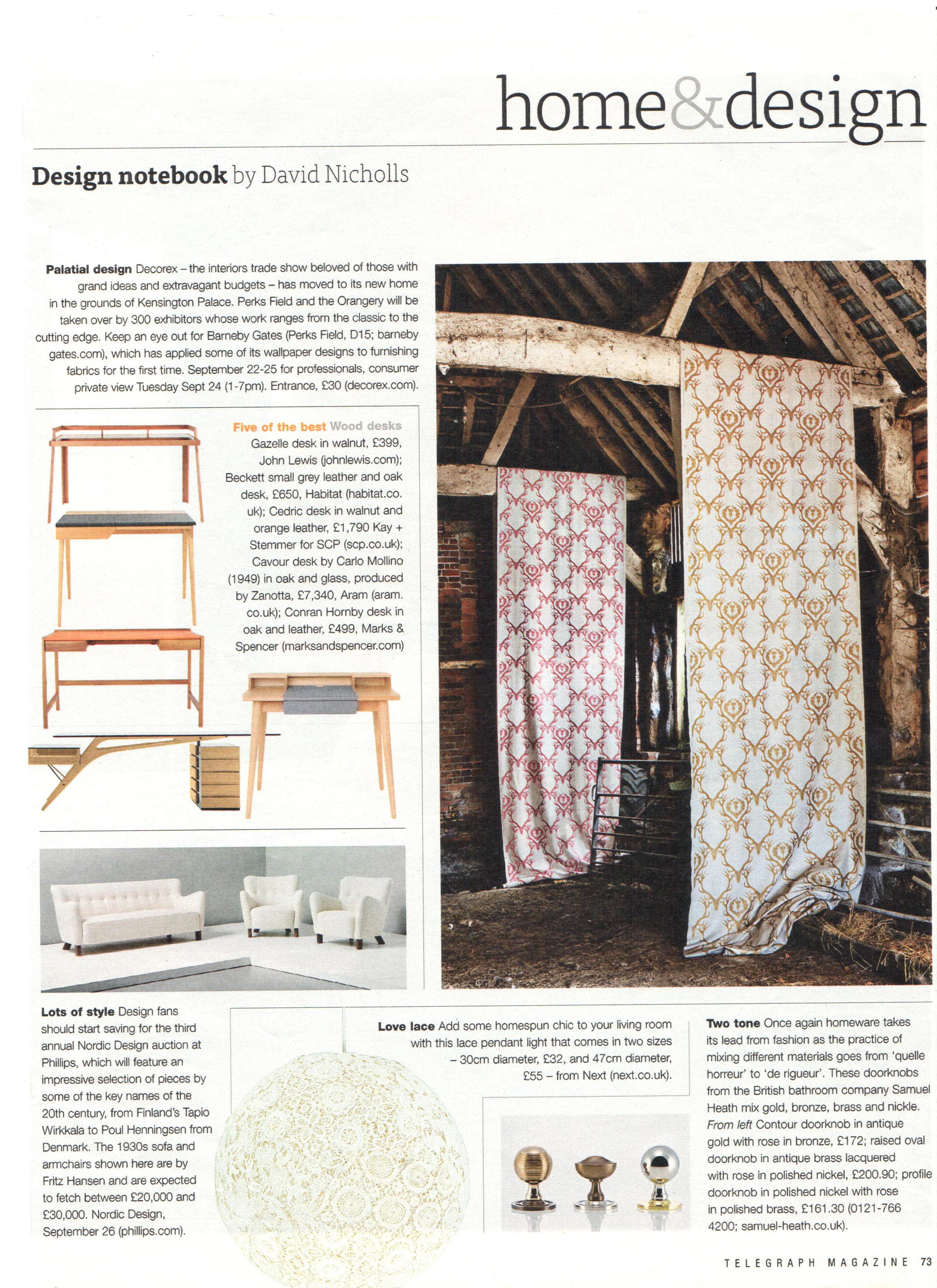 2013 Sept - Telegraph Magazine - Design Notebook - Article